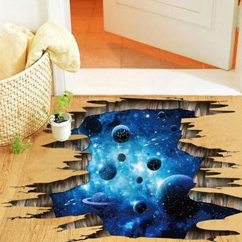 Outer Space Planets 3D Wall Stickers Cosmic Galaxy Wall Decals for Kids Room Baby Bedroom Ceiling Floor Decoration