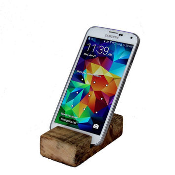 Wood Cell Phone Stand - Rustic Card Holder - Country Iphone Desk Stand - Rough Sawn Pine Samsung Stand