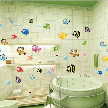 Halibut Wall Stickers High quality 160*80cm DIY Removable Art Vinyl kid Room bathroom Wall Stickers Decor Mural Decal 2016 New