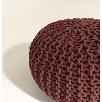 Modern Handmade Round Knitted Pouf | Marsala/Red/Brown | 50x35cm