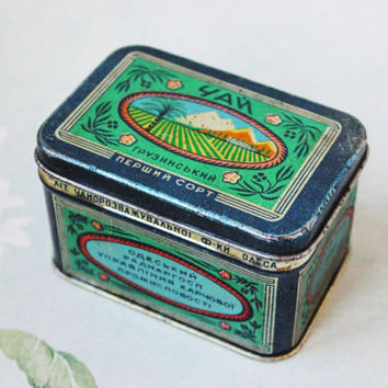 Antique Tea Tin Box / 1930's Soviet Vintage Tin Box, Ukrainian Text: Georgian Tea, Odessa Tea Factory, USSR / Small Storage Tin, Green, Blue
