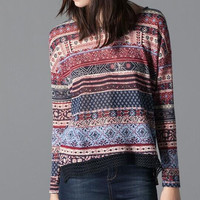 Totem Print Lace Long-Sleeve Blouse