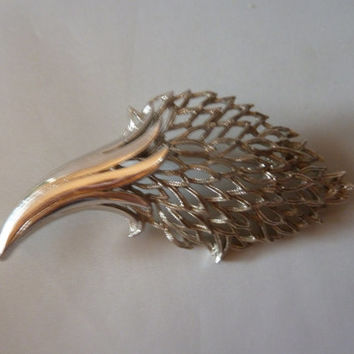 Vintage Coro Silver Flower Bud Brooch Pin 1940s 1950s Costume Jewelry Spring Summer Easter