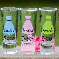 Shot glasses. Bridesmaid gift, bride, Maid of Honor, Hot Pink, Purple, Ice Blue, Lilac, Lime Tree Green dress colors. Priced individually