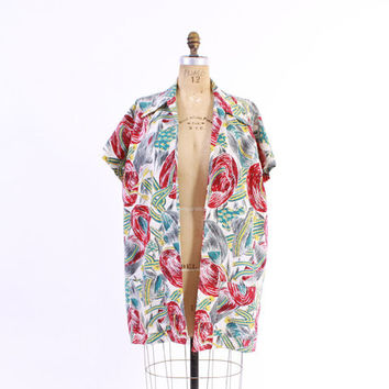 Vintage 50s Swim COVER UP / 1950s Rose Marie Reid Sombrero Novelty Print Beach Jacket