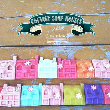 Handmade Soap Houses. Organic Soap. Spring Soap. Kid's Soap. Welcome gift. Thank you gift. Birthday gift.