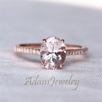 Fancy Oval Cut  7x9 Morganite Engagement Ring 14K Rose Gold  Wedding Ring /Bridal Ring/ Anniversary Ring