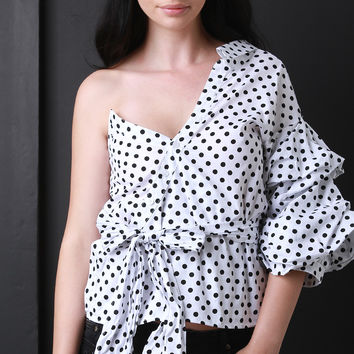 Asymmetrical One Shoulder Polka Dots Statement Sleeve Top | UrbanOG