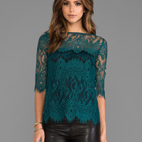 BB Dakota Josette Scalop Lace Top in Evergreen