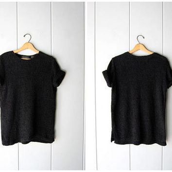 Oversized 80s Black Knit Tunic Top Tshirt Short Sleeve Chenille Slouchy Knit Tshirt Dress Boho Grunge Minimal Tee Vintage Womens Medium