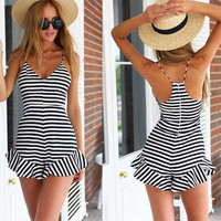 Womens Black White Striped Jumpsuit