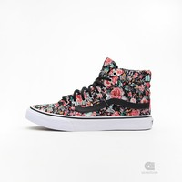 Vans SK8-HI Slim (Multi Floral) Black/ True White | Caliroots - The Californian Twist of Lifestyle and Culture