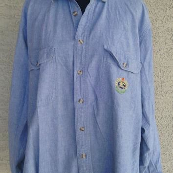 Vintage Burberry shirt. 80s men's large cotton blue shirt blue jean top long sleeves 1