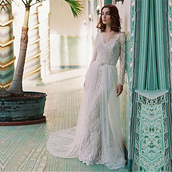 elegant boho Wedding Dresses 2017 new long sleeves appliques lace beach wedding guest gown tulle  women marry gown