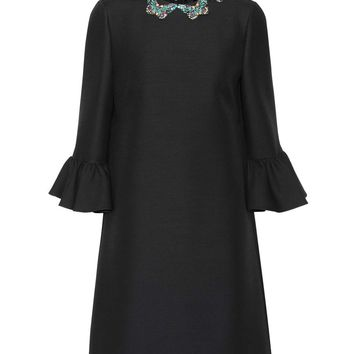 Embellished wool and silk minidress