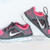 Women's Nike Free 5.0 V3 in Grey and Pink with Swarovski crystal detail