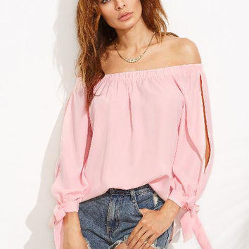 Pink Tie Knot Strapless Shirt B0013759
