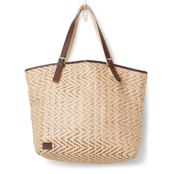 TOMS Natural Chevron Straw Islander Tote Bag