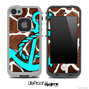 Real Giraffe Animal Print and Turquoise Anchor Skin for the iPhone 5 or 4/4s LifeProof Case