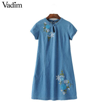 Vadim women vintage floral embroidery denim dress O neck short sleeve fashion ladies brand casual mini dresses vestidos QZ3005