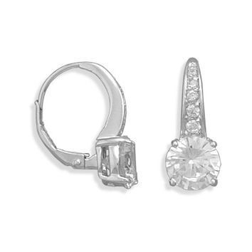 Rhodium Plated Graduated Cubic Zirconia Lever Back Earrings