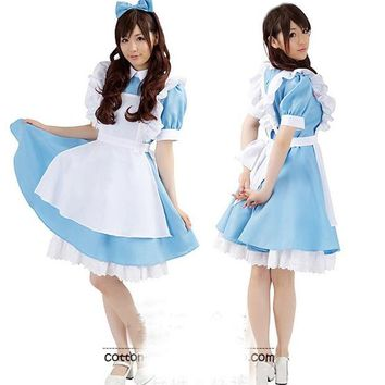 Free shipping ,Alice's Adventures in Wonderland adult Alice Cosplay dress maid costume clothes