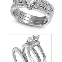 925 Sterling Silver CZ Set of 3 Marquise Center Engagement/ Wedding Ring 9MM