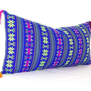 Lumbar Pillow Cover 14X28, Mexican Embroidered Cushion, Tribal Pillow with Tassels, Mexican Blanket Pillow
