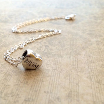 Mother Necklace, Silver Heart Necklace, Dainty Necklace, Small Heart Necklace, Valentine's Day Gift, Silver Charm Necklace, Silver Necklace