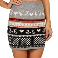 Sale-gray Winter Love Skirt