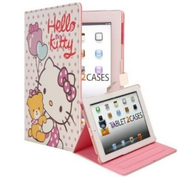 Hello Kitty Themed Apple iPad 2 / New iPad 3 Faux Leather Folio Case with Teddy Bear (Magnetic Closure, Automatic Sleep/Wake, 3x Angle Stand)