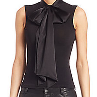 Alice and Olivia - Glynda Fitted Tie Neck Top - Saks Fifth Avenue Mobile