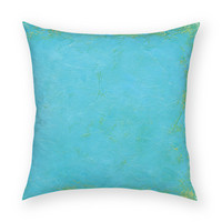 """Solid Tropical Blue 18""""x18"""" Artistic Throw Pillow"""
