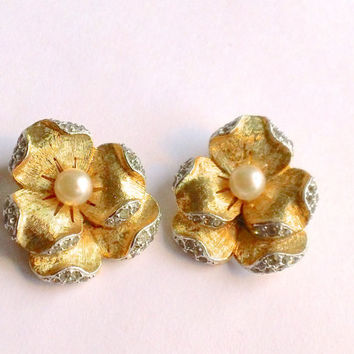 Panetta Pearl Flower Earrings Retro Bridal Foliate Jewelry