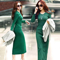Hot sale Ladies Elegant Winter Dress 2015 New Fashion Sexy Femininas Vestidos Bodycon Basic Dress Women Clothing Plus Size S-5XL