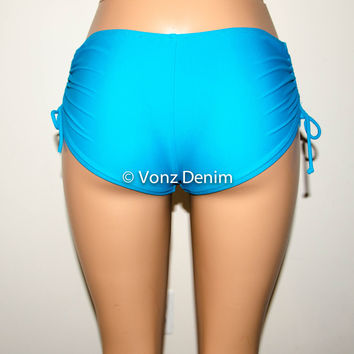 Full Coverage Boy Shorts Bikini Bottoms, Scrunch & tie Side Hips Bikini Bottoms, Fully Lined Women Boy Shorts Bathing Suit in Turquoise
