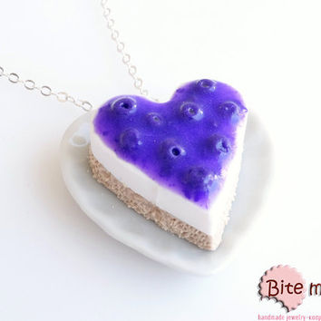 Mini Food Blueberry Cheesecake Necklace, Miniature Food Jewelry, Polymer Clay Jewelry, Food Jewelry, Kawaii Jewelry, Cute Jewelry