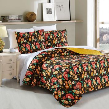 DaDa Bedding Marigold's Floral Brown & Yellow Autumn Garden Elegant Bohemian Reversible Quilted Coverlet Bedspread Set (HS-3330)