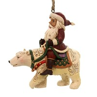 Jim Shore SANTA RIDING POLAR BEAR Polyresin Ornament Christmas 6001507