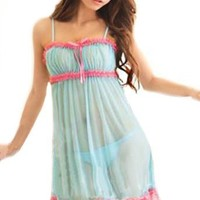 New Light Blue And Pink Sexy Cute Lingerie Babydoll Dress + G-striing Chemise