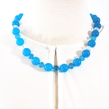 Blue Topaz Gemstone With Crystal Beaded Necklace