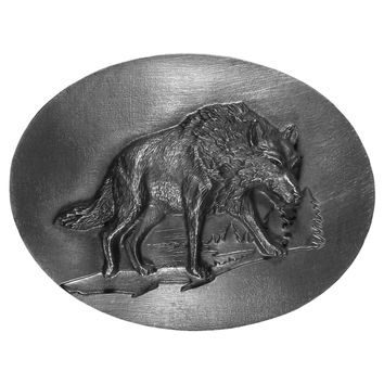 Sports Accessories - Wolf Antiqued Belt Buckle
