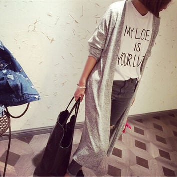Qickitout Europe Street Style Cardigans Knitted Sweaters Women Fashion Oversized Cardigan Vintage Long Sweaters Thin Open Coat