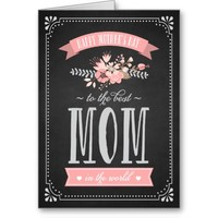 Pink Flowers on Chalkboard   Mother's Day Card Greeting Card