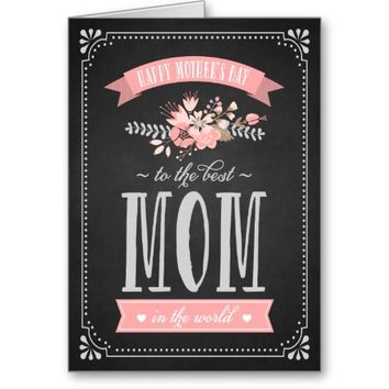 Pink Flowers on Chalkboard | Mother's Day Card Greeting Card
