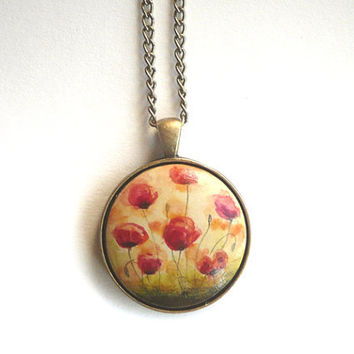 Chic Poppy Pendant Necklace, Retro Vintage Look, Charm, Miniature Flower Painting, Red Poppies