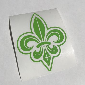 Green Fleur de Lis Vinyl Decal on Clear Transfer Paper - Easily apply to a tumbler, laptop, car, etc. - New Orleans made - Free Shipping!