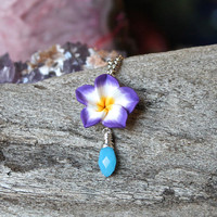 Purple Flower Necklace - Plumeria Jewelry - Gift for Her - Clay Flower Jewelry - Plumeria Necklace - Tropical Jewelry - Beach Island Style