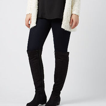 Wide Fit Black Suedette Over The Knee Boots