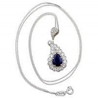 1.18 ct Sapphire and 0.82 ct Diamond, 18 ct Yellow Gold Pendant - Vintage French Circa 1980